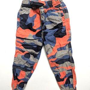 Mini Boden Boys Blue/Orange Camo Joggers Pants 3